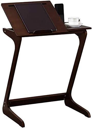 Verstelbare Laptop Tafel, Notebook Stand lade Bamboe Sofa Z Shaped, Verstelbare TV lade Tafel voor Woonkamer, Office Koffie Tafel, Bespaar ruimte (Kleur : Kastanje, Maat : 65cm Hoog)