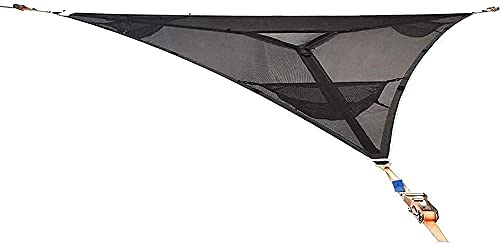 YUnZhonghe Hamaca de árbol de múltiples personas patentó el diseño de tres puntos, trinques pesados y correas de hombro, cubierta de toldo al aire libre triangular, patio exterior jardín jardín told