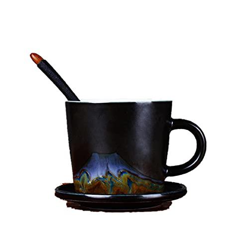 1 pieza taza de cerámica retro minimalista con plato taza de café personalidad esmerilada pareja taza de agua potable japonesa