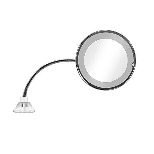 Espejos de Maquillaje de 360 Grados 10X LED Espejo de baño giratoria...