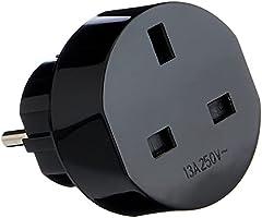 Brennenstuhl reisstekker / reisadapter (reisstekkeradapter voor: Euro stopcontact en Engeland stekker) kleur: zwart
