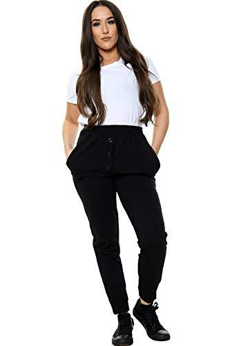 Janisramone Pantalones deportivos con 3 botones y puños para mujer, estilo casual, para gimnasio - negro - 38
