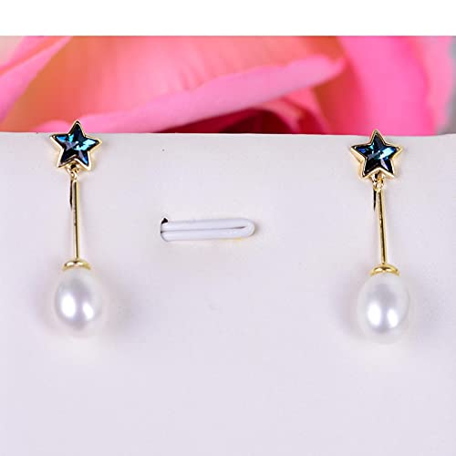 LOKILOKI Pendientes De Perlas Naturales De Plata De Ley 925 Joyas para Mujer Pendientes De Estrella De Tamaño Perla De 8-9 Mm