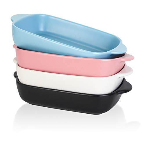 BonNoces 7.5'' x 5'' Ceramic Individual Baking Dish, Small Rectangular Casserole Pasta Bakeware Dishes with Handles, Oven and Microwave Safe, Set of 4, Assorted Colors