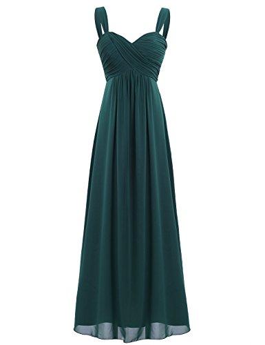 Freebily Vestido Elegante de Boda Fiesta Cóctel para Mujer Dama de Honor Vestido Largo Verano Verde Oscuro 36