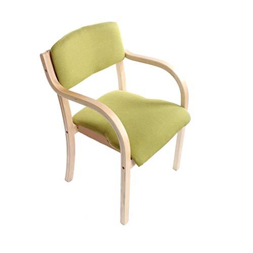 Chaise de salle à manger en bois massif Chaise en bois européen Accueil Balcon Bureau Fauteuil Café Siège de l'hôtel/Vert - Paquet de 1