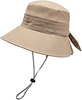 CHENDX Hat Female New Spring and Summer Big Fisherman Hat Travel Windproof Sunhat (Color : Khaki)