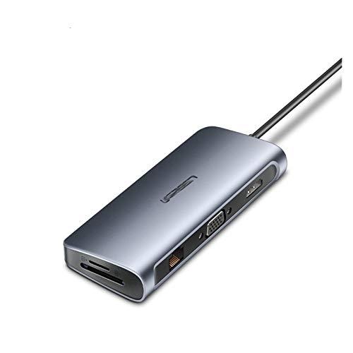 CMDZSW Adaptador HUB C HUB C USB 10 en 1 USB C a USB 3.0 Dock para MacBook Pro Accessories USB-C Tipo C 3.1 Splitter USB C Hub (Color : 9 in 1 HDMI and VGA)