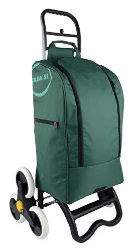 BigDean Einkaufstrolley mit Treppensteiger-Funktion, Kühlfach & 6 großen Rädern - 40L faltbar grün - Einkaufswagen Einkaufsroller Kühltasche Einkaufstasche Shopping Trolley