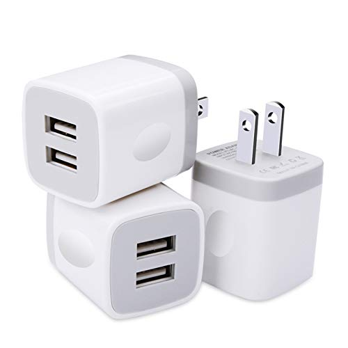 USB Plug, USB Wall Charger 3 Pack, GiGreen Dual Port USB Electrical Plug Cube 5V 2.1A Charging Block USB Outlet Plugs Compatible iPhone 11 XS X 8 7, LG V30 G8, Samsung S20 S10+ S9 S8 Note 9 8, Moto G6
