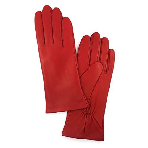 Harssidanzar Damen Italienische Lammfell Lederhandschuhe Kaschmir Gefüttert, Rot, XL