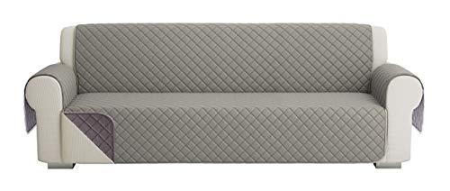 Fundas para Sofa Acolchado, Funda De Sofas 4 Plazas (220 CM), Cubre Sofa Reversible Bicolor, Gris / Gris Oscuro