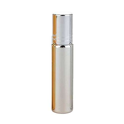 jingxiaopu Botellas De Rodillo Botellas De Rodillo De Aceite Esencial Roll-On para Aceite Esencial para Perfume De Aceites Esenciales Silver