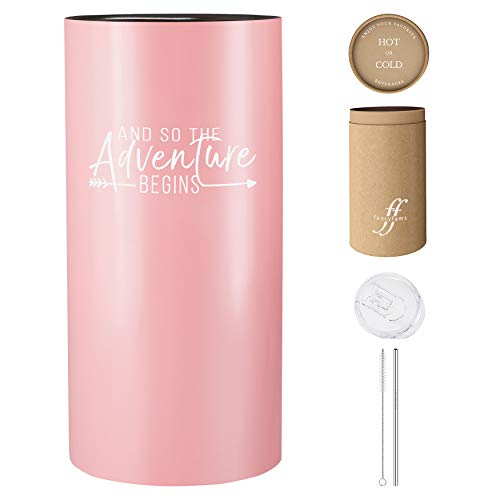 And So The Adventure Begins | 14 Insulated Tumbler with Lid and Straw – Gift Idea for Graduation, Promotion, Going Away, Moving Away, New Job, Divorce for Women or Men (Coral Pink)