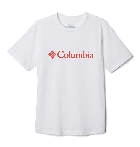Columbia CSC Basic Logo Camiseta de Manga Corta, Niños, Blanco/Naranja (White/Bright Poppy), S