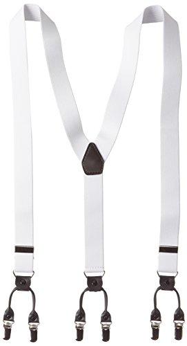 エクサス EXAS 無地ダブルクリップタイプサスペンダー ホワイト 幅3cm 日本製