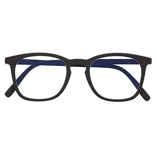 DIDINSKY Blaulichtfilter Brille für Damen und Herren. Blaufilter Brille mit stärke oder ohne sehstärke für Gaming oder Pc. Gummi-Touch-Tempel und Blendschutzgläser. Graphite +1.5 – TATE