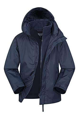 Mountain Warehouse Fell Regenjacke Kinder - 3-in-1 Jacke, atmungsaktive, Wasserabweisende Wander-Regenjacke, Multifunktions- und Outdoor-Jacke für Jungen und Mädchen Marineblau 9-10 Jahre