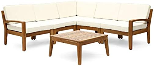 Great Deal Furniture Roy Outdoor Acacia Wood 5 Seater Sectional Sofa Set with Coffee Table, Teak and Beige