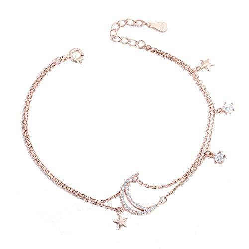 Pulsera de plata de ley 925 con forma de estrella y luna de doble capa de cadena de mano