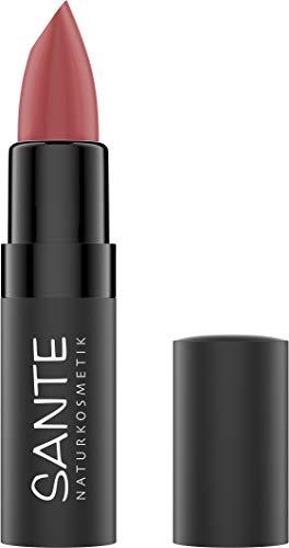 Sante Naturkosmetik Matte Lipstick 04 Pure Rosewood, Lippenstift, Matt-Effekt, Mit Bio-Kakaobutter, Intensive Farbpigmentierung, 4,5g