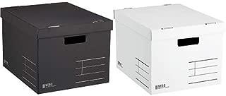 コクヨ 収納ボックス NEOS Lサイズ フタ付き ブラック + 収納ボックス NEOS Lサイズ フタ付き ホワイト セット