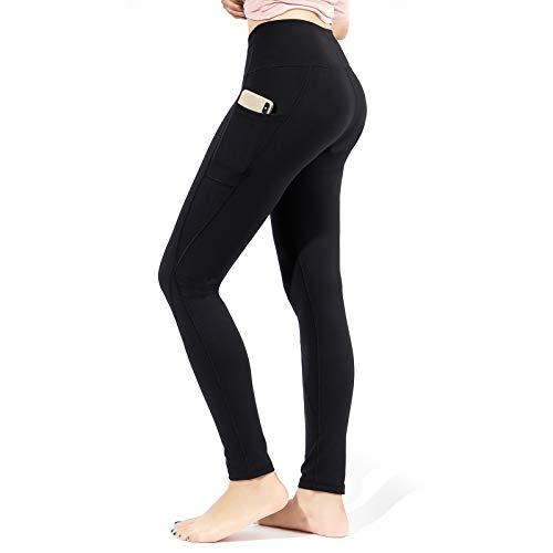 TOPLUS Damen Sport Leggins Yogahosen mit 2 Taschen, Schwarz Sporthose Yogahose Streetwear
