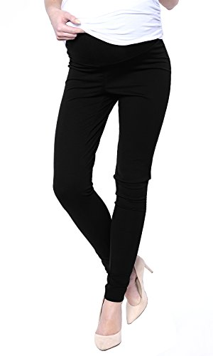 Mija - Elegante Damen Slim Umstandshose mit Bauchband 1046 (EU42 / XL, Schwarz)