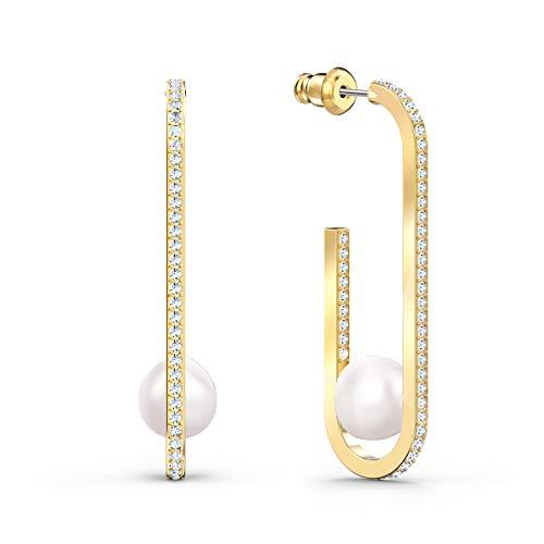 Swarovski Orecchini So Cool Pearl, Bianco, Placcato Colore Oro