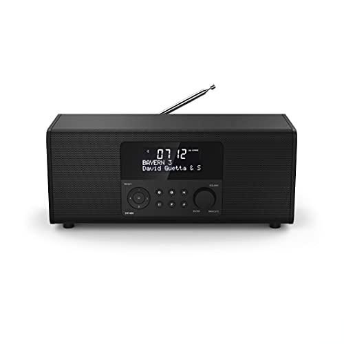 Hama 54872 Digitalradio DR1400 (DAB/DAB+/FM, Radio-Wecker mit 2 Alarmzeiten/Snooze/Timer, 4 Stationstasten, Stereo, beleuchtetes Display, kompaktes Digital-Radio) schwarz