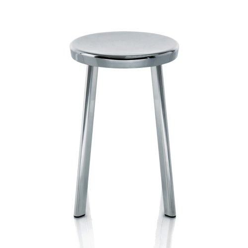 Magis Déjà-vu Hocker 50cm, Aluminium poliert Sitz Ø33cm BxT 42,5x42,5cm