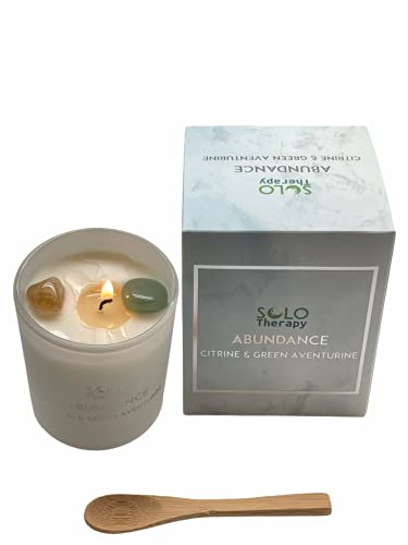 Abundance Candle with 1 Citrine Crystal and 1 Green Aventurine Crystal, Money Spell Candle, Abundance Crystals, Prosperity Candle , Gift Set , 100% Soy Wax, 200 Grams, 40 Hours Burn time (Abundance)