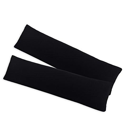 SHC - Kissenbezug 2er-Set für Stillkissen, 100% Baumwolle mit Reißverschluss - 145x40cm, schwarz