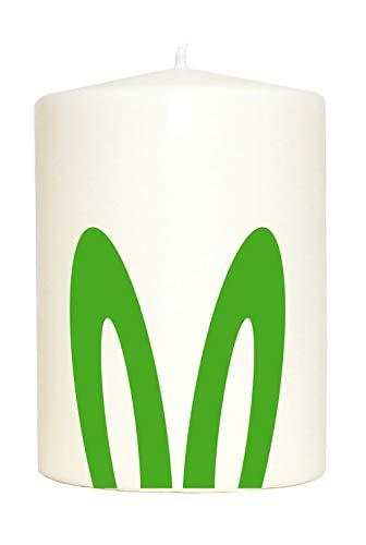 WB wohn trends Kleine Spruchkerze weiß, Hasen-Ohren Oster-Hase Frohe Ostern, Aufdruck grün, 10x7cm, Kerze mit Spruch Motiv-Kerze