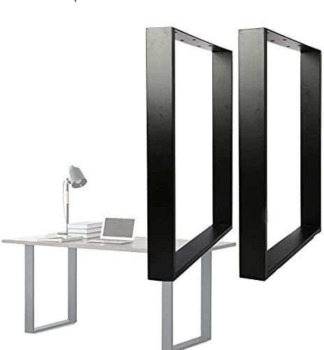 uyoyous 2er Tischgestell Möbelfüße,Industrial Tischkufen Tischbeine Stahl Material,Rechteck für Esstisch Schreibtisch Couchtisch Bank   einfache Montage 71 × 65cm,Mattschwarz