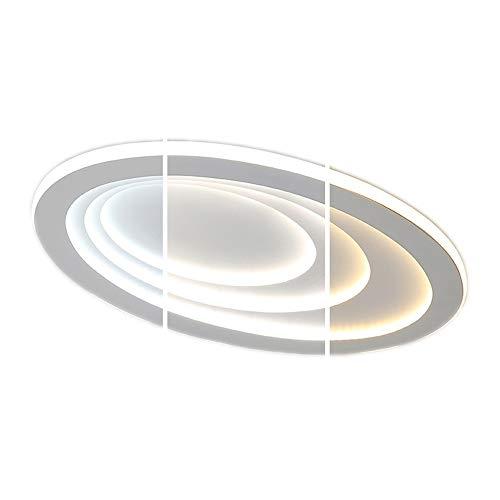 Blanc Plafonnier Moderne 92W LED Lampe de plafond Créatif 3 Anneau Ovale Désign Fer Abat jour pour Salon Chambre Cuisine Salle à manger Étude Bar Éclairage, Dimmable avec télécommande