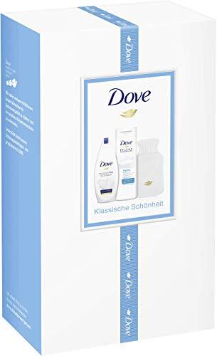 Dove 2er Geschenkpack mit Wärmflasche Duschgel Reichhaltige Pflege 250 ml und Body Lotion Hydro Pflege 400 ml, 667 g