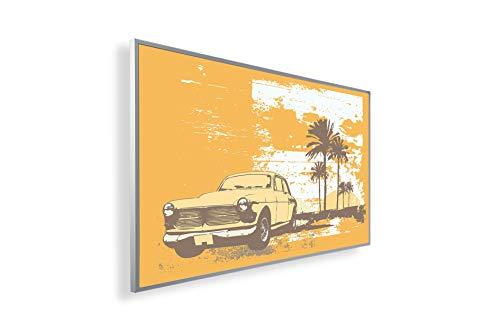 Könighaus Bildheizung (Infrarotheizung mit hochauflösendem Motiv) 5 Jahre Garantie (300-Old car Cuba) - inkl. Thermostat