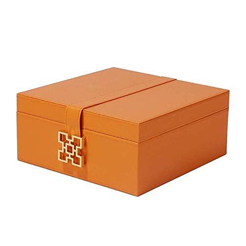 JIANGCJ Bella Caja de joyería de Cuero Organizador Mini Caja de Viaje para Anillos Pendientes Collares Caja de baratijas Naranjas