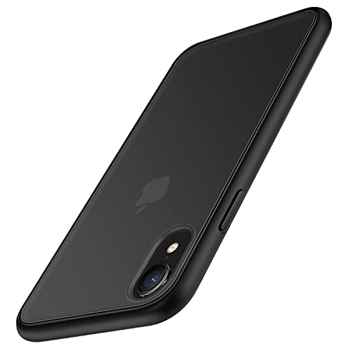 TENDLIN Funda Compatible con iPhone XR, Carcasa Protectora Anti Choques con Duro Translúcida Mate Panel Posterior y Marco de Silicona Suave Cómoda Case - Negro Mate