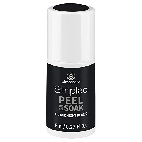alessandro Striplac Peel or Soak Midnight Black – LED-Nagellack in tiefem Schwarz – Für perfekte Nägel in 15 Minuten – 1 x 8ml