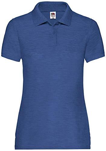 Fruit of the Loom 65/35 Polo Lady-Fit Poloshirt NEU, Farbe:Retro Royalblau meliert, Größe:L