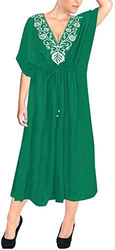 LA LEELA Mujeres caftán Rayón túnica 3D HD Impreso Kimono Libre tamaño Largo Abaya Vestido Jalabiyas de Fiesta para Loungewear Ropa de Dormir Playa Todos los días Cubrir Vestidos Verde_Y214