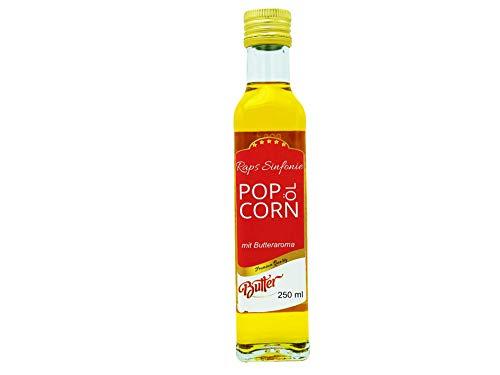 Hopser Food Fun 250 ml Popcorn Öl mit feinem natürlichen Butteraroma und praktischem Ausgießer Hocherhitzbares Popcornmais Butter Aroma Fett Raps Sinfonie mit Traubenkernöl und Buttergeschmack