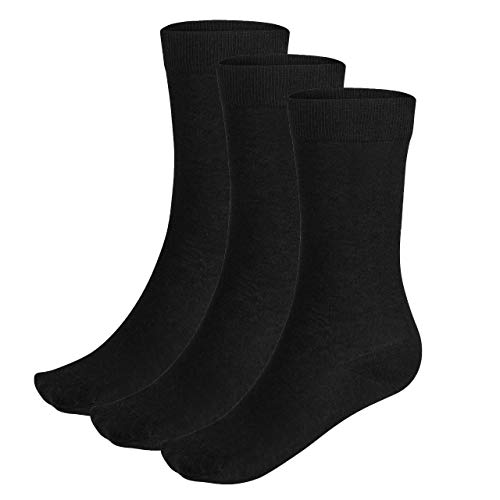 Wool Rockers Merino-Socken, 3er Pack, für Damen & Herren, für Freizeit & Alltag ideal, angenehmes Tragegfühl (schwarz, 43 - 47)