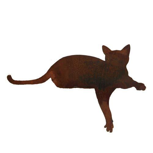 Unbekannt DEKO Figur LIEGENDE Katze Metall 45cm BREIT Garten ROST Patina KANTENHOCKER NEU