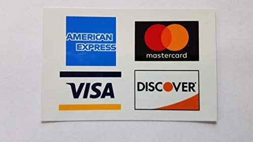 """Credit Card Sticker Signs Stickers – 2 Pack 5""""x 3"""" Inch - Authentic Visa, MasterCard, Amex & Discover, Premium Self-Adhesive Vinyl, Laminated, UV, Weather, Scratch, Water and Fade Resistance"""