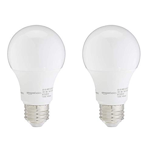 AmazonBasics 40W Equivalent, Daylight, Dimmable, 10,000 Hour Lifetime, A19 LED Light Bulb | 2-Pack