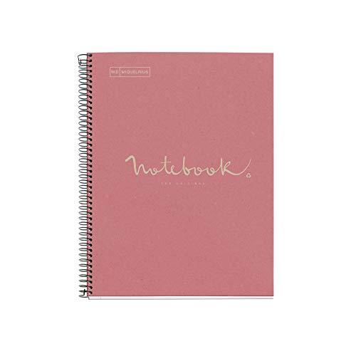 MIQUELRIUS - Cuaderno Notebook Emotions 100% Reciclado - 1 franja de color, A4, 80 Hojas cuadriculadas 5mm, Papel 80 g, 4 Taladros, Cubierta de Cartón, Color Rosa