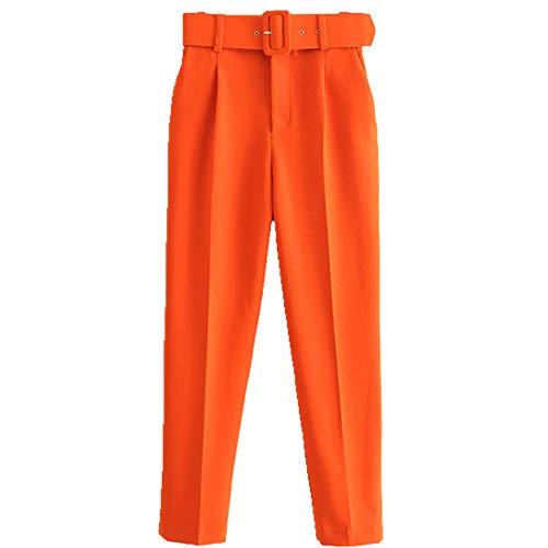 U/A cintura alta con cinturón pantalones vintage cremallera bolsillos oficina desgaste mujer tobillo pantalones Naranja naranja S
